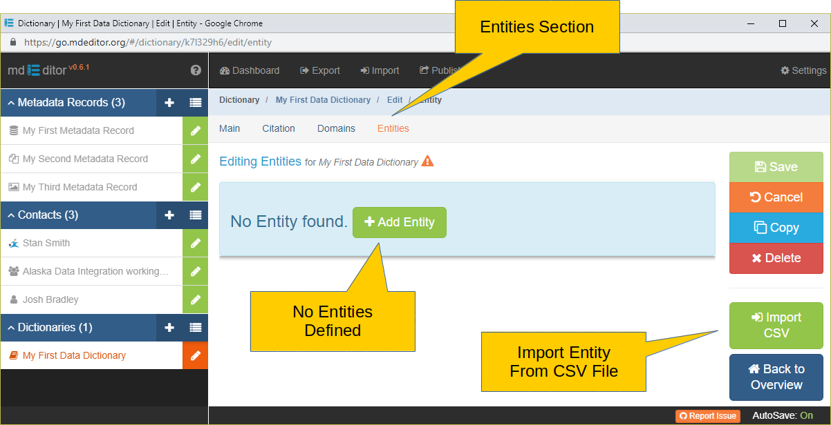 Entity Edit Window with no Entities Defined