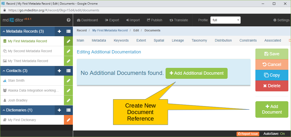 Documents Section with no Additional Documents Defined