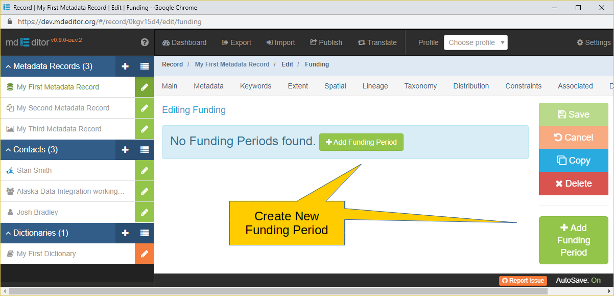 Funding Section with no Funding Periods Defined