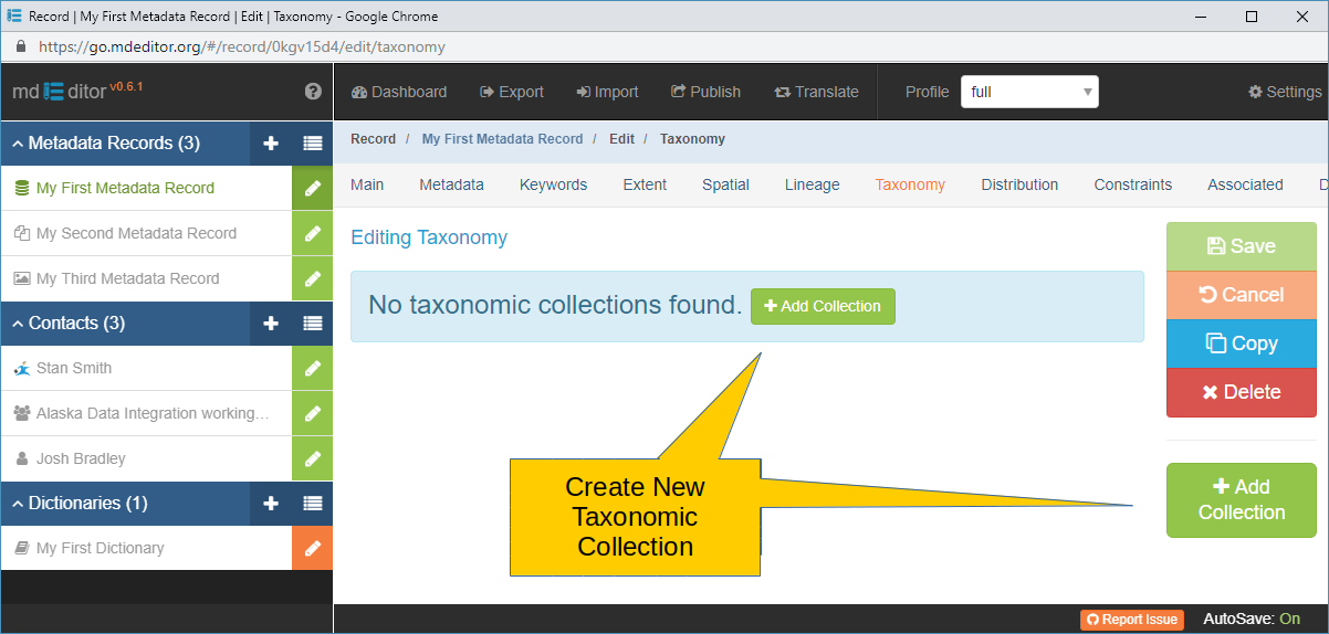 Taxonomy Section with no Taxonomic Collections Defined