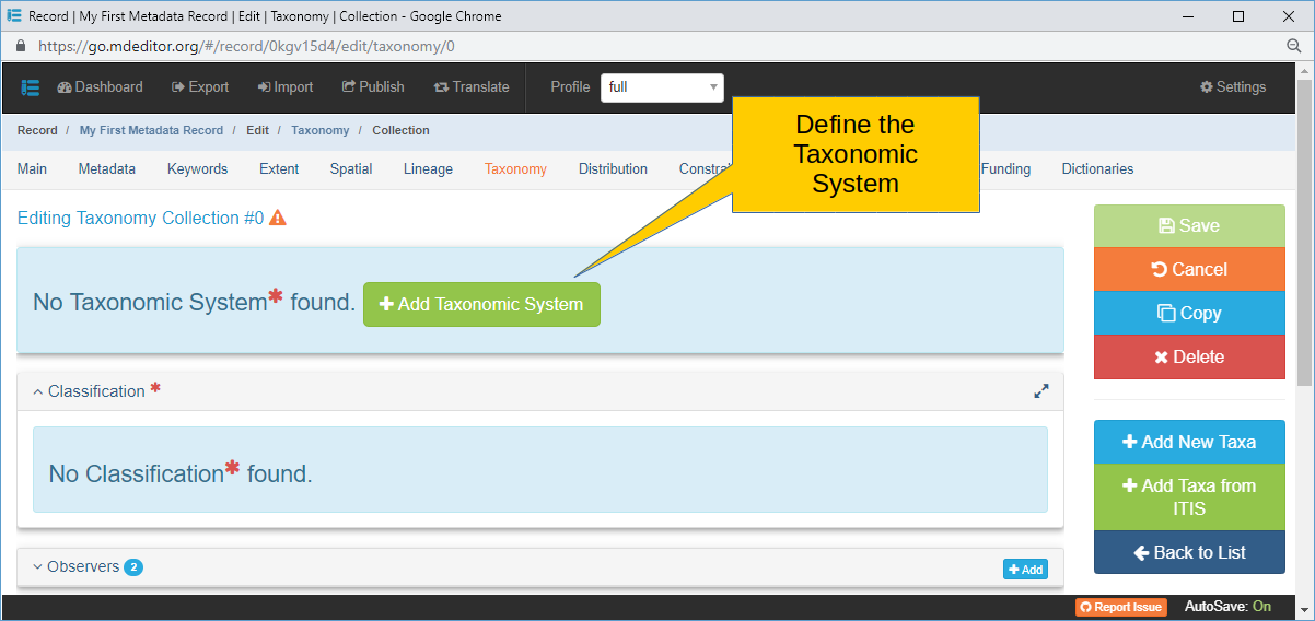 Taxonomy System Panel with no Systems defined