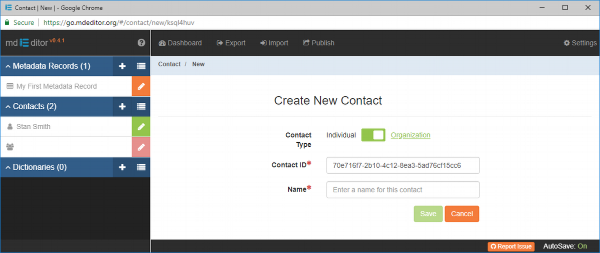Create New Contact Window